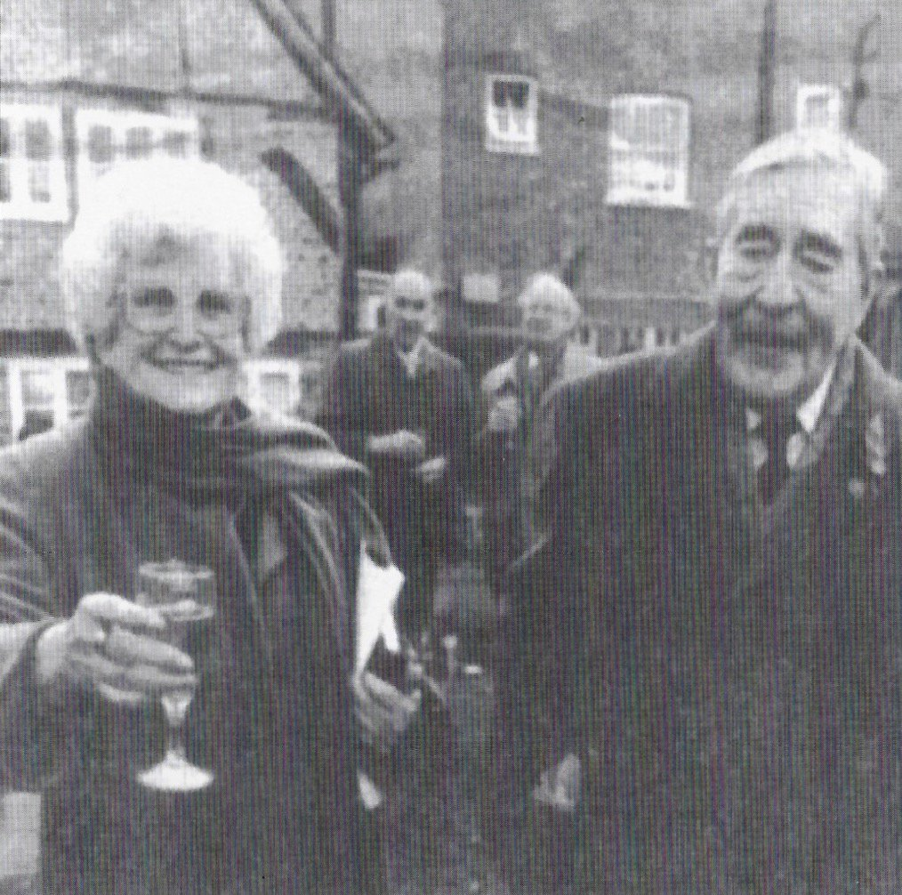 Jean toasting Eric Corns as President for Life, one of the driving forces behind the Society. 50 years of the Amersham Society, 2006