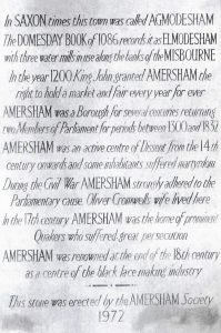 Plaque on the Market Hall. 50 years of the Amersham Society, 2006
