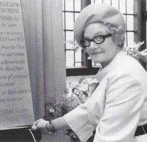 Mrs. Bridgstock Choat at the unveiling of the commemorative tablet. 50 years of the Amersham Society, 2006