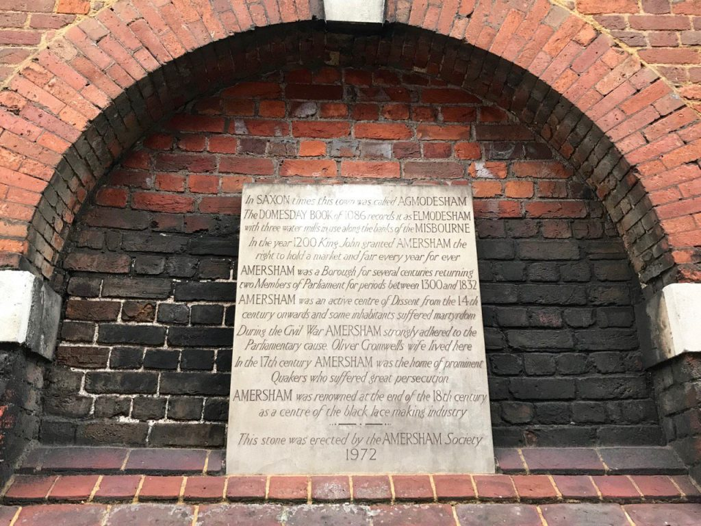 Commemorative Tablet by Amersham Society on the Market Hall wall