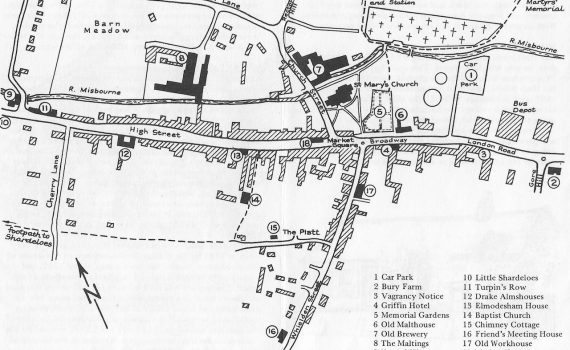 Old Amersham Map, Town Trial Leaflet, 1975