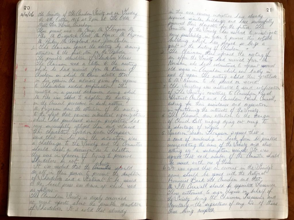 Minute Book, 16 Oct 1956 Committee Meeting