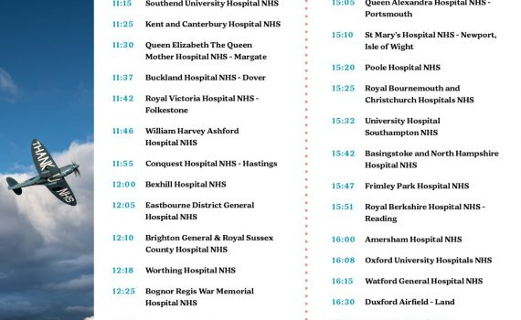 NHS Spitfire 1 Aug 2020 Flight Routes