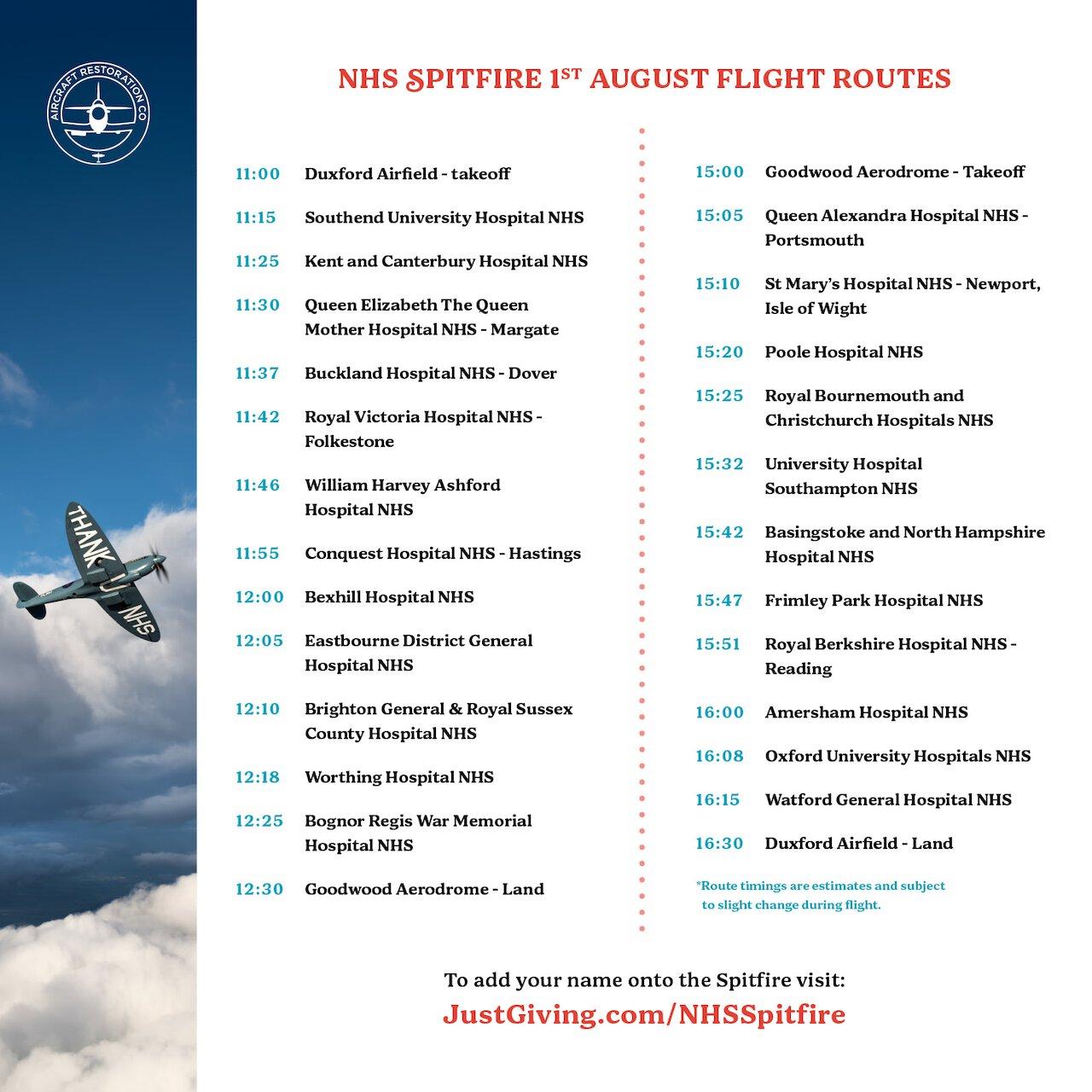NHS Spitfire 1 Aug 2020 Flight Routes