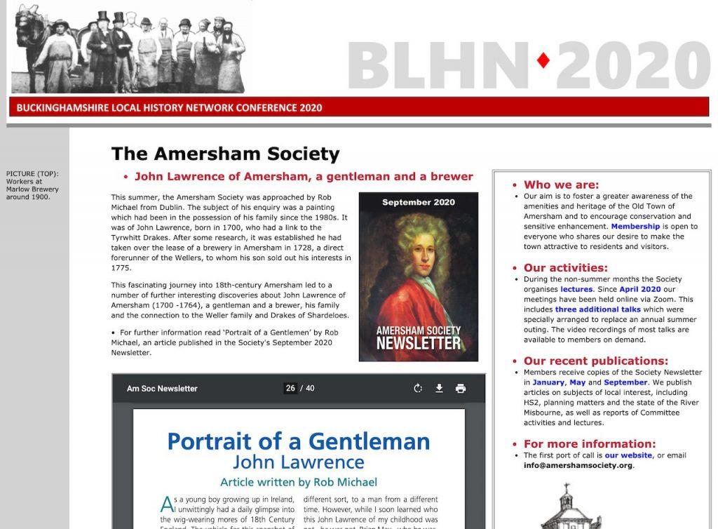 The Amersham Society at BLHN 2020 Conference